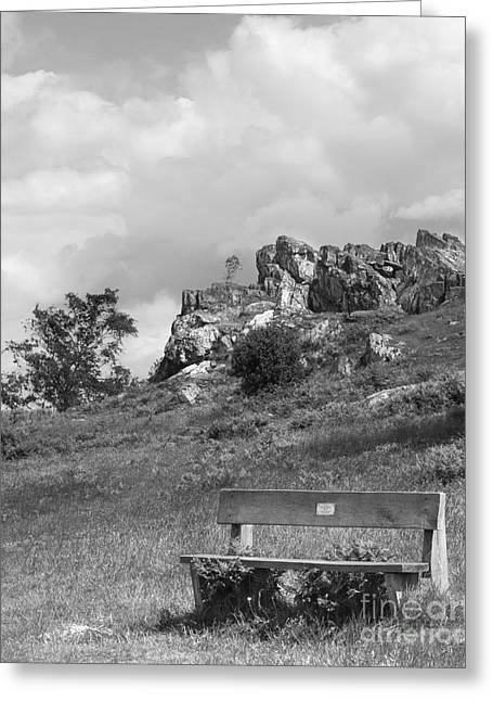 Black And White Images Mixed Media Greeting Cards - Bench At Beacon Hill Leicestershire Greeting Card by Linsey Williams