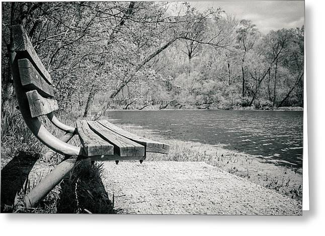 Amy Turner Greeting Cards - Bench by the water Greeting Card by Amy Turner