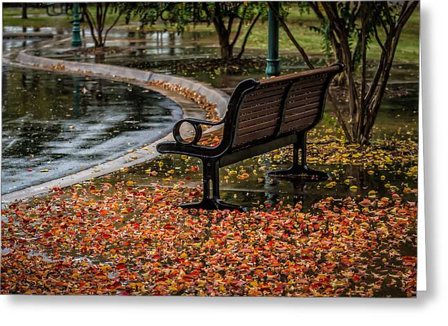 James Barber Greeting Cards - Bench Greeting Card by James Barber
