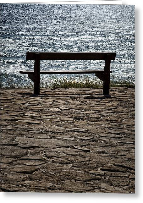 Empty Chairs Greeting Cards - Bench over the sea Greeting Card by Mike Santis