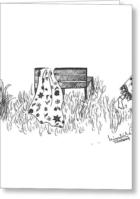 Park Benches Drawings Greeting Cards - Bench Greeting Card by Scientila Duddempudi