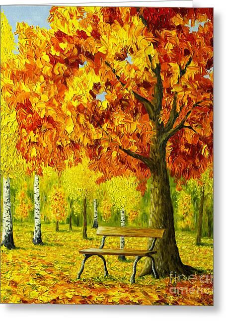 Bench Under The Maple Tree Greeting Card by Veikko Suikkanen