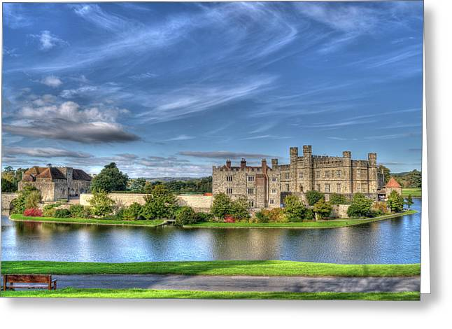 Leeds Greeting Cards - Bench view of Leeds Castle Greeting Card by Chris Thaxter