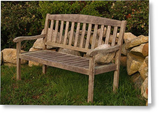 Bench With Stone Greeting Card by Richard Mansfield
