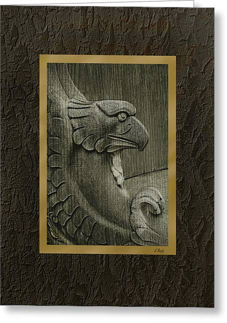 Wood Carving Greeting Cards - Benched Eagle Greeting Card by Gordon Beck