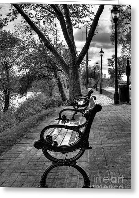 Empty Bench Greeting Cards - Benches On Riverside Drive BW Greeting Card by Mel Steinhauer