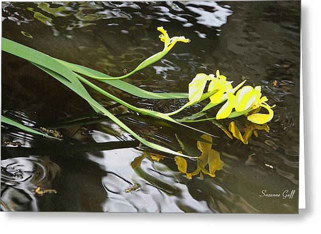 Iris Digital Art Greeting Cards - Bending Low Greeting Card by Suzanne Gaff