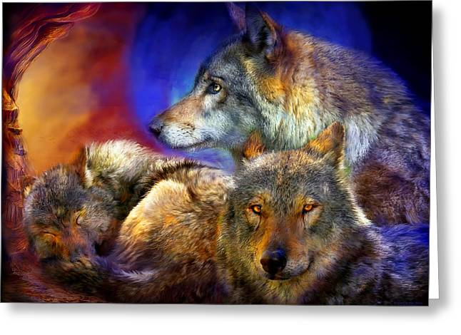 Wildlife Art Prints Greeting Cards - Beneath A Blue Moon Greeting Card by Carol Cavalaris