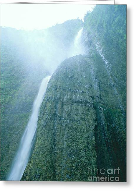 Hamakua Greeting Cards - Beneath A Waterfall Greeting Card by Peter French - Printscapes