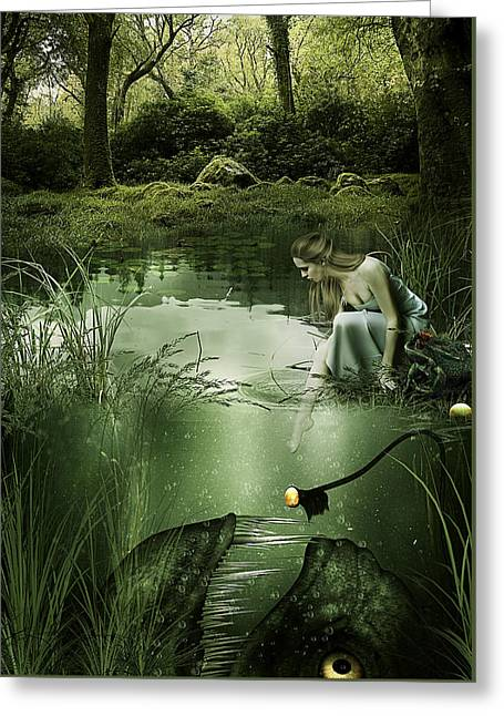 Monster Mixed Media Greeting Cards - Beneath Still Waters  Greeting Card by Cheri Stollings