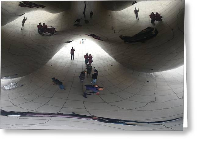 Chicago Sculptures Greeting Cards - Beneath the Bean Greeting Card by Mea