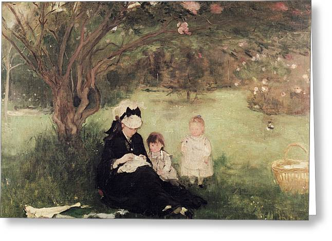 Berthe (1841-95) Greeting Cards - Beneath the Lilac at Maurecourt Greeting Card by Berthe Morisot