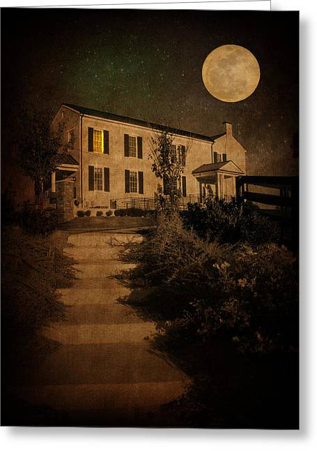 Beneath The Perigree Moon Greeting Card by Amy Tyler