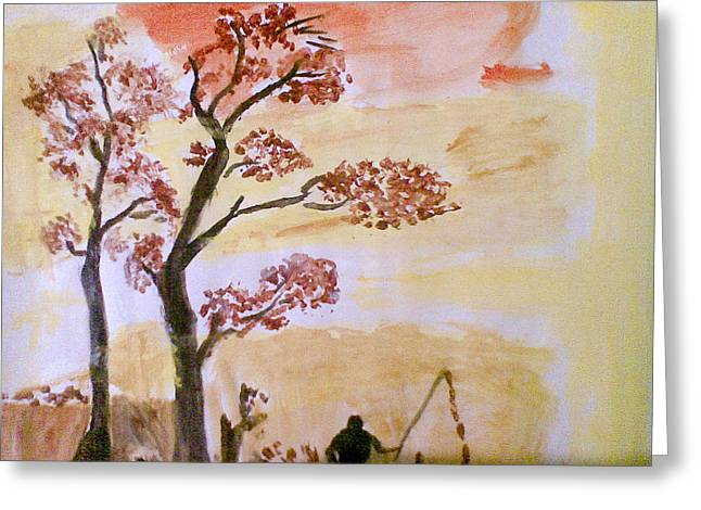 Watercolour Pastels Greeting Cards - Beneath The Trees Greeting Card by Vivek Raj