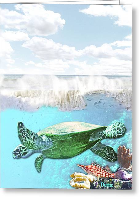 Sea Animals Greeting Cards - Beneath the waves Greeting Card by Dorne Ann