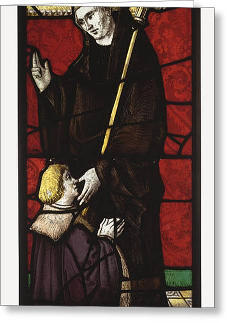 1510 Paintings Greeting Cards - Benedictine Abbot Saint with a Donor Greeting Card by Celestial Images