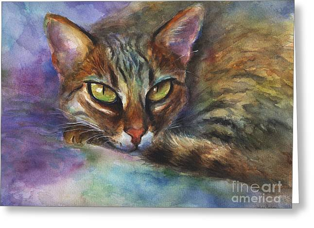 Cat Drawings Greeting Cards - Bengal Cat watercolor art painting Greeting Card by Svetlana Novikova