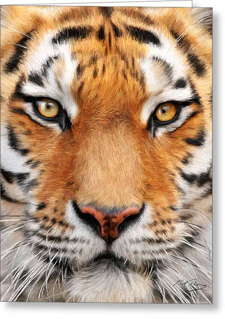 Realistic Digital Art Greeting Cards - Bengal Tiger Greeting Card by Bill Fleming