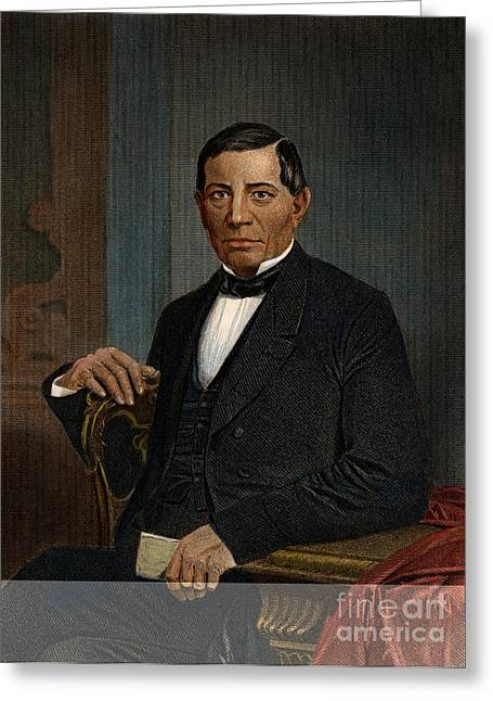 Statesman Greeting Cards - Benito Juarez (1806-1872) Greeting Card by Granger