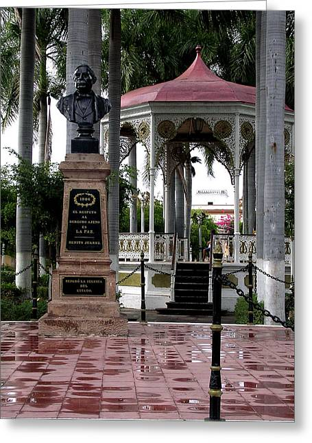 Town Square Greeting Cards - Benito Juarez Greeting Card by SJ Crown