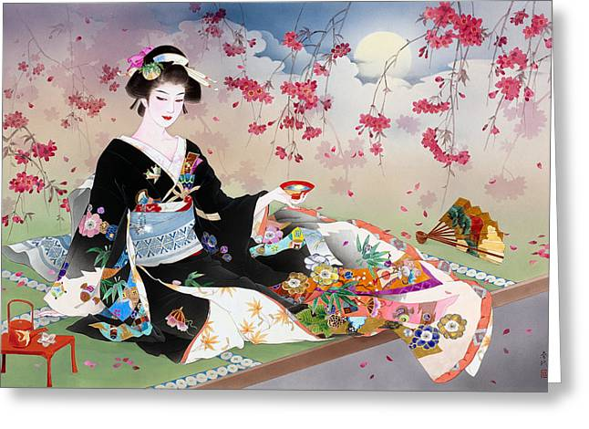 Adult Greeting Cards - Benizakura Greeting Card by Haruyo Morita