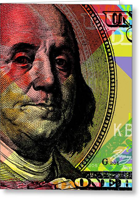 Benjamin Franklin - $100 Bill Greeting Card by Jean luc Comperat