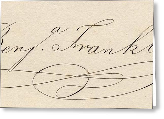 Franklin Drawings Greeting Cards - Benjamin Franklin, 1706-1790 Greeting Card by Ken Welsh