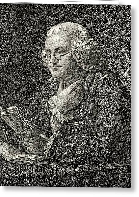 Franklin Drawings Greeting Cards - Benjamin Franklin 1706 To 1790 American Greeting Card by Ken Welsh