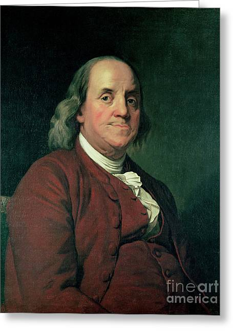 Enlightenment Greeting Cards - Benjamin Franklin Greeting Card by Joseph Wright of Derby