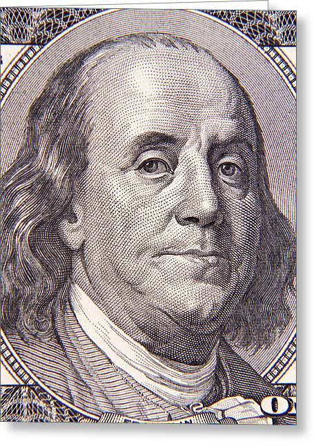 Benjamin Franklin Greeting Card by Les Cunliffe