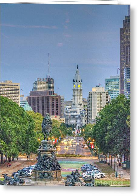 Downtown Franklin Greeting Cards - Benjamin Franklin Parkway City Hall Vertical Greeting Card by David  Zanzinger