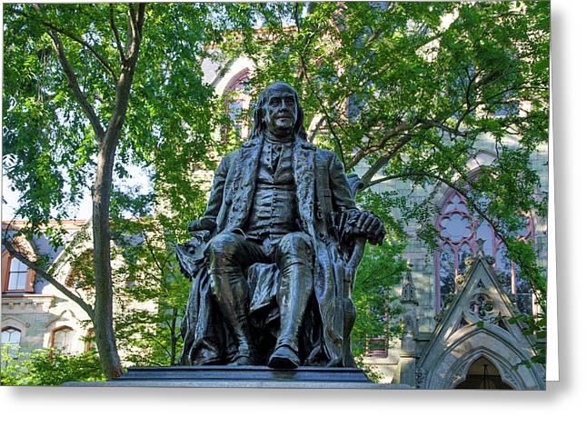 Benjamin Franklin Staue - University Of Pennsylvania Greeting Card by Bill Cannon