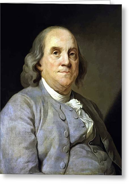 July 4th Paintings Greeting Cards - Benjamin Franklin Greeting Card by War Is Hell Store