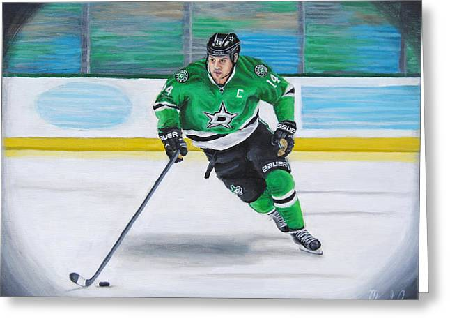 Hockey Paintings Greeting Cards - Benn and the Art Greeting Card by Mark Lopez