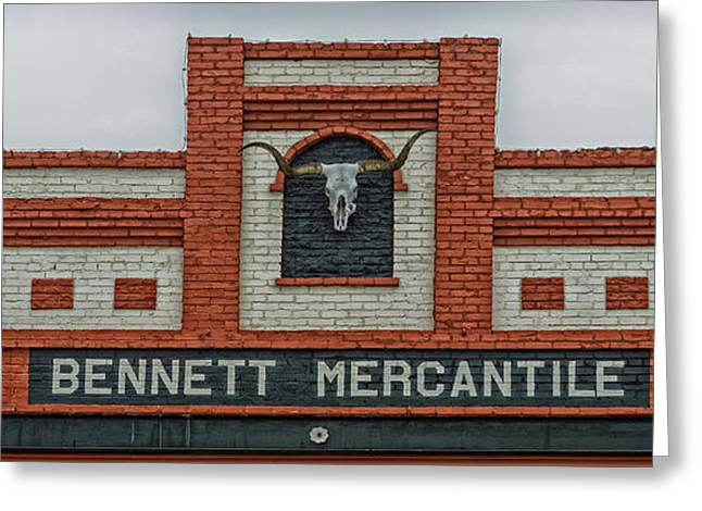 Steer Greeting Cards - Bennett Mercantile Greeting Card by Mountain Dreams