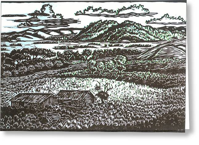 Mountain Cabin Drawings Greeting Cards - Bennett Peak Homestead Greeting Card by Dawn Senior-Trask