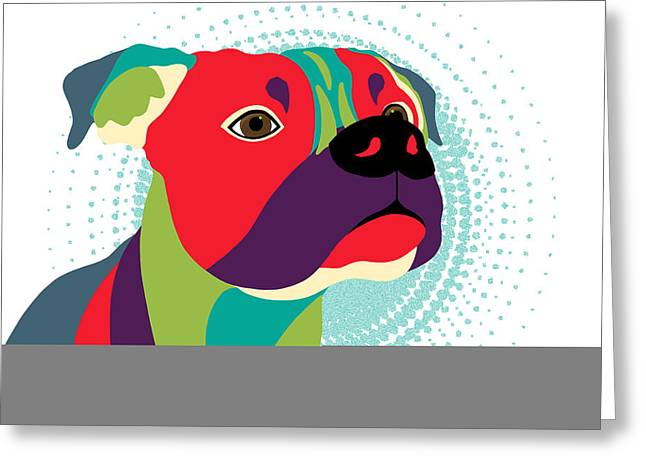 Boxer Digital Greeting Cards - Bennie The Boxer Dog Greeting Card by Sharon Norman