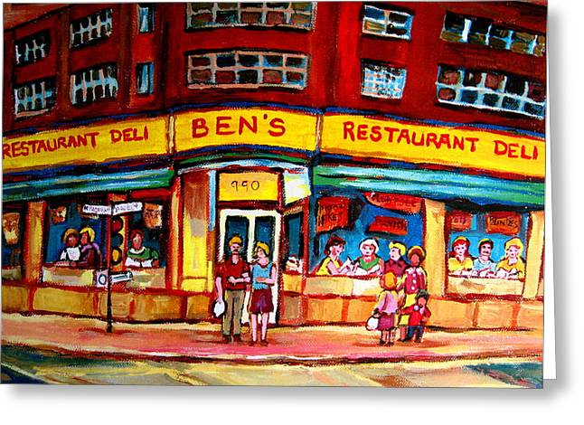 Verdun Connections Greeting Cards - Bens Delicatessen - Montreal Memories - Montreal Landmarks - Montreal City Scene - Paintings  Greeting Card by Carole Spandau