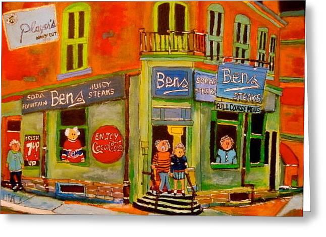 Litvack Greeting Cards - Bens  Restaurant Montreal Memories Greeting Card by Michael Litvack