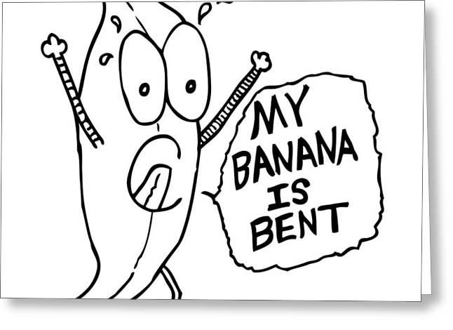 Banana Drawings Greeting Cards - Bent Banana Comic Greeting Card by Karl Addison