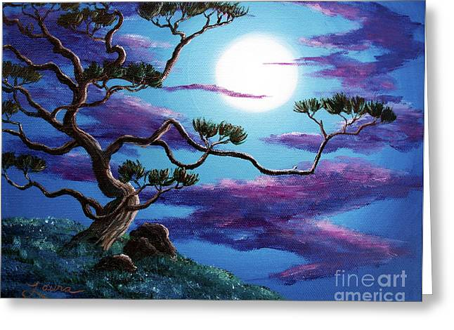Mystical Moons Greeting Cards - Bent Pine Tree at Moonrise Greeting Card by Laura Iverson