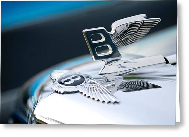 Vintage Hood Ornament Greeting Cards - Bentley Hood Ornament Greeting Card by Jill Reger