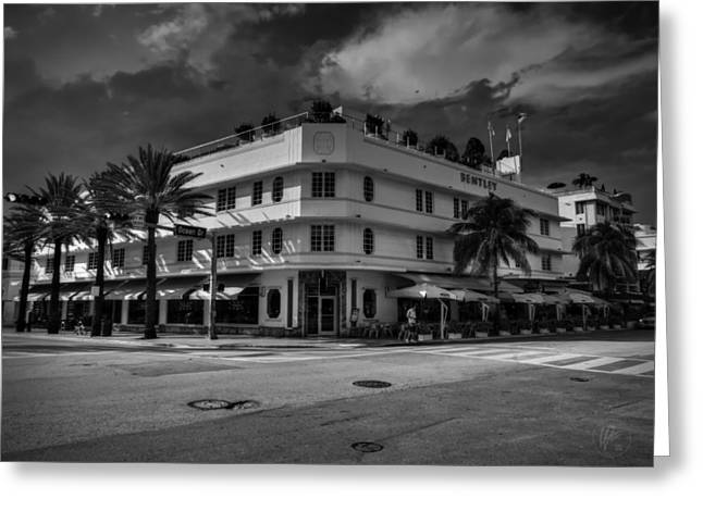 Beaches Greeting Cards - Bentley Hotel South Beach 001 BW Greeting Card by Lance Vaughn