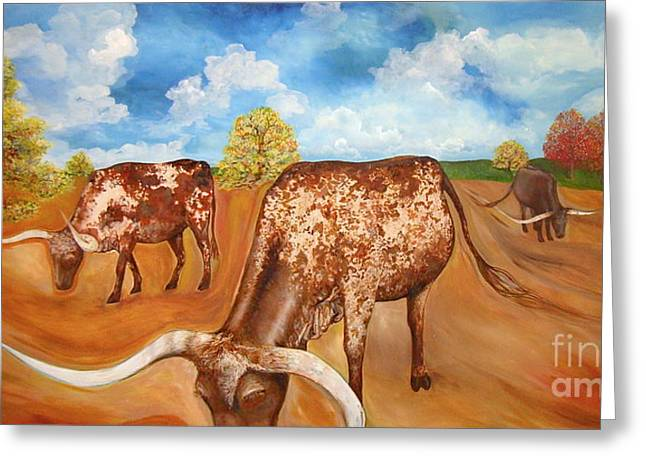 Benton Hwy 165 Longhorns  Greeting Card by Rebecca Robinson