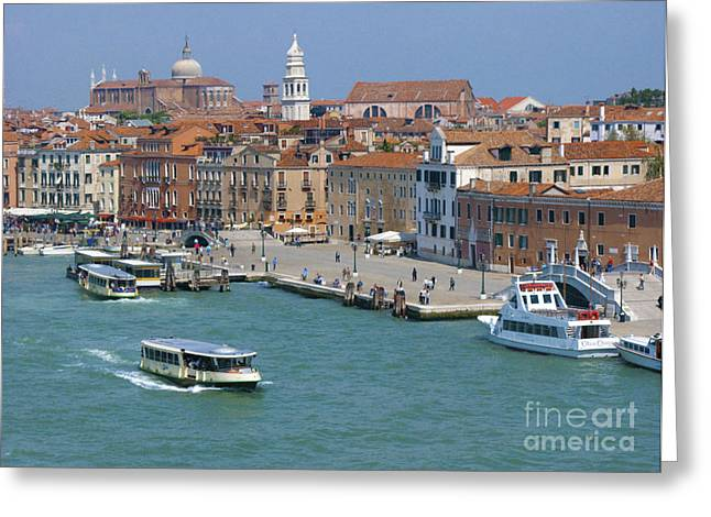 Historic City Pier Greeting Cards - Benvenuto Venice Greeting Card by Sandra Bronstein