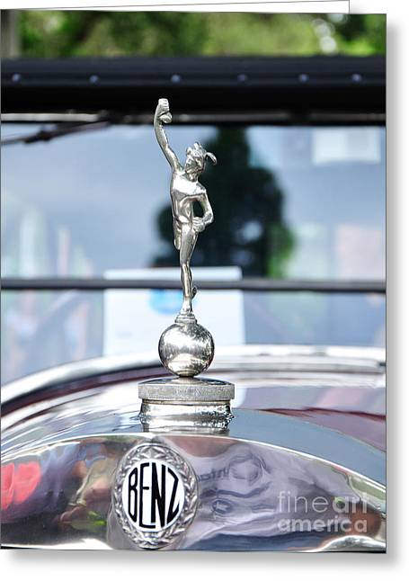 Collector Hood Ornament Greeting Cards - Benz 1916 DS2 - Hood Ornament and Badge Greeting Card by Kaye Menner