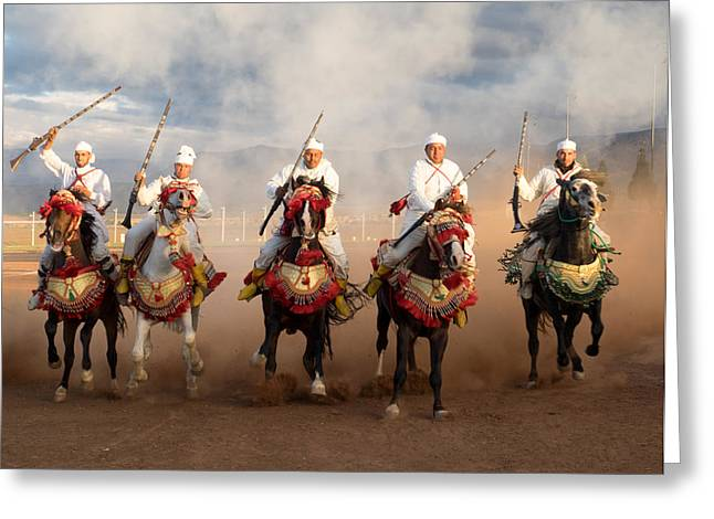 Weaponry Greeting Cards - Berber Horseman Pulling Up After Firing Greeting Card by Panoramic Images