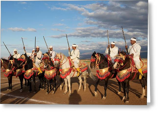 Weaponry Greeting Cards - Berber Horsemen Lined Greeting Card by Panoramic Images