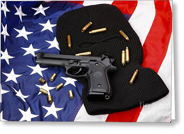 Beretta Handgun Lying On Balaclava And United States Of America Flag With Used Shell Casings Greeting Card by Joe Fox