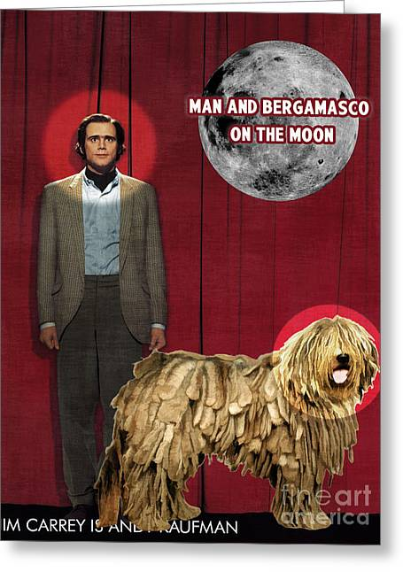Bergamasco Art Canvas Print - Man On The Moon Movie Poster Greeting Card by Sandra Sij